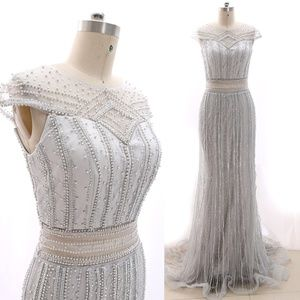 Beaded Silver Prom Dress Formal Evening Ball Gown